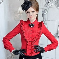 Hot Red Pleated Ladies Shirt Turn Down Collar Puff Long Sleeve Career Shirt For Woman Fall/Spring Clothing HY0816