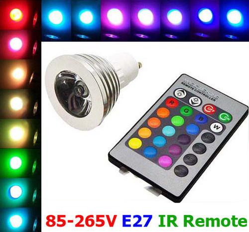 Free Shipping! Magic RGB Energy Conservation LED Light Bulb Lamp AC 85~265V 3W E27 16 Colors 5 Modes + IR Remote(China (Mainland))