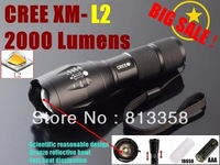 UltraFire E17 CREE XM-L2 2000Lumens cree led Torch Zoomable cree LED Flashlight Torch light For 3xAAA or 1x18650-Free shipping