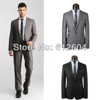 Gentle men interview suits grey and black slim suits blazer and pants two pieces formal groomsmen clothes big size 3XL 4XL