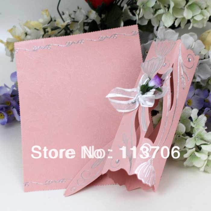 Pink scroll wedding invitation cards T045C(China (Mainland))