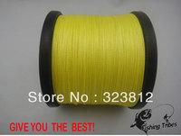 Free shipping wholesale 1500yds yellow 8LB---------100LB braided fishing line dyneema
