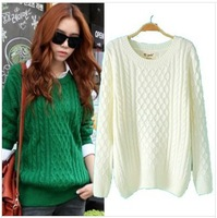 European/American Ladies Knitwear Fashion Brief Sweet O-Neck Long Sleeve Joker Sweater,white and green 2 colors