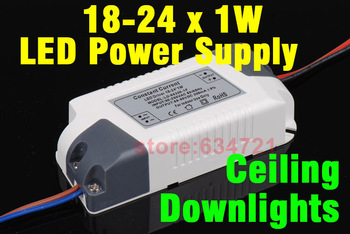 NEW 18 -24 x1W High Power LED Light lamp Driver Power Supply  AC 90-260V  300MA for Ceilling /Downlights Free Shipping