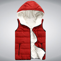 2013 autumn and winter lovers cotton vest male with a hood cotton vest male vest women's lamb's cotton waistcoat