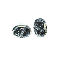 Free Shipping! 925 Sterling Silver Core Charm Bead with Black and Clear European Crystals. Fits All Brands European Charm Lines.