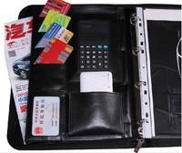 Leather multifunctional folder inset manager sales clip multifunctional folder briefcase with calculator free shipping wholesale