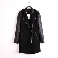 2013 New Fashion Autumn and Winter Stand Collar PU Patchwork Long Sleeve Trench Zipper Black Trench Coat for Lady in Stock