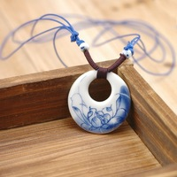 Handmade chinese style blue and white jingdezhen ceramic necklace national trend accessories jewelry unique accessories