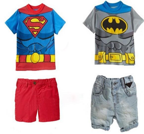 Summer The Latest Baby Clothing Set Cartoon Batman Superman Short Tshirt + Pants Shorts 2pcs Boys Casual Suit QZ122(China (Mainland))