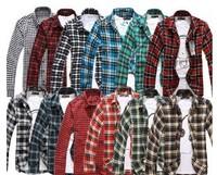 Hot sale 2013 New Men's blasting grinding wool plaid shirt Men Slim Turn-down Collar Plaid Shirts,13 Colors M-L-XL-XXL