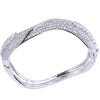 Latest Jewelry Office Ladies Romantic Crystal Bangles Top Grade Zirconia Crystal Nickel Free Plated Marriage Anniversary Present