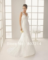 2014 New white/ivory lace wedding dress custom Dresses Sexy White Sleeveless Mermaid / Trumpet Backless Prom Dresses Wedding