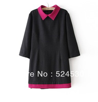 The new temperament OL lapels, simple color matching 7 minutes of sleeve cloth dress # 131020