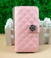 Luxury Flip Wallet Card Holder Bling Diamond Rose Magnetic Chain Leather Case Cover For Apple Iphone 4 4G 4S 5 5G 5S 5C Bag 0235