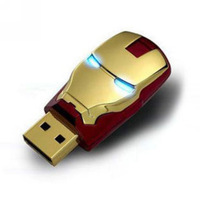 YY1 Full Capacity Avengers Gold Iron Man Shining Eyes 4GB 8GB 16GB 32GB 64GB  USB 2.0 Flash  Memory Drive Stick Pen/Thumb/Car