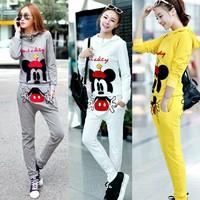 new Korean casual long-sleeved sport suit cartoon Mickey pattern Women suits,Woman clothes sweatshirt sportswear set