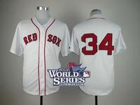 2013 World Series Patch Boston red Sox #34 David Ortiz White Baseball Jersey Embroidery logos cool base free shipping