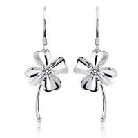 Free shipping Four leaf clover drop earring 925 pure silver earrings silver jewelry earring female long design earrings gifts