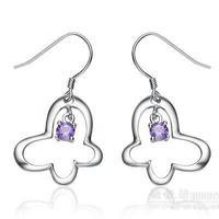 Free shipping Smarten Women 925 pure silver earrings butterfly drop earring long design earrings silver jewelry accessories