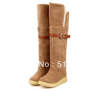 Winter  fashionable  over-the-knee  flat heel snow boots gaotong women's  warm Cotton boots