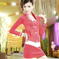 Mounted long-sleeve stewardess autumn and winter uniform ktv sauna suit work wear