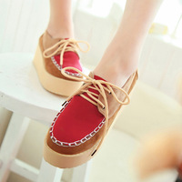 2013 autumn platform color block vintage casual lacing high-heeled  wedges single  female shoes