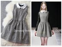 Shift Dress With contrast Peter Pan Collar and  Metallic golden Panel S-XL evening dress