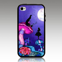 For iphone 4 4s iphone 5 5s iphone 5C case Alice in Wonderland hard TPU mix PC Phone cover Wholesale Retail