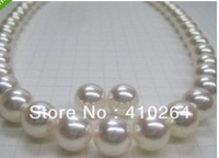 $wholesale_jewelry_wig$ Free Shipping classic sets of AAA 11-12mm Australia south sea white pearl necklace earring 14k