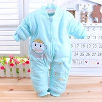 Winter Thickening Baby Romper 100% Cotton 0-6 Month Baby One Piece Romper Blue Light Yellow Pink 3 Color Choose Value