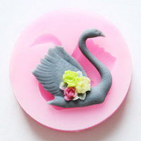 Free shipping !!!1pcs Mini New Style Swan (F0526) Silicone Handmade Polymer Clay Mold Fondant Cake Decorating DIY Mold