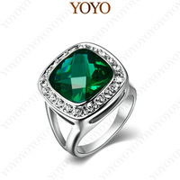 Lovely gift New style Rhinestone Jewelry 18K white Gold Plated Green  Austria Crystal 6Ct Sapphire Ring R199W4