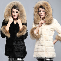 2013 medium-long rex rabbit hair fur women outerwear hooded slim white
