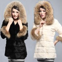 2013 medium-long rex rabbit hair fur women outerwear hooded slim white