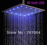 Luxury 3 color changing 10 inch brushed nickle rainfall square LED shower heads ceiling& wall mounted  Showerhead