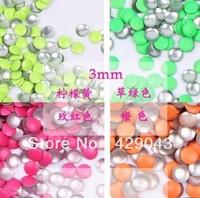 Free shpping  1000pcs/bag, 3mm Fluorescent Round Shape Color Nail Metallic Decoration 3D Metal alloy Nail Art Decoration