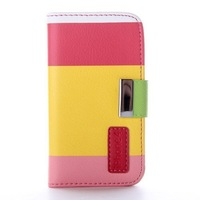 Premium Multi-Function Painting Series Wallet Leather Case Cover  Credit Card Holder and Phone Stand and Lanyard for iPhone 4 4S