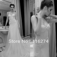 Free Shipping New Sale sweetheart mermaid inbal dror Bridal wedding dresses chapel train backless Spaghetti straps 2013