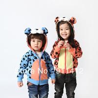 Autumn winter children fleece hooded coats boy girl outwear tops tiger jacket children clothes kid's clothing