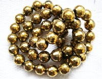 AAA+ Beautiful Beads gold plated Hematite round faceted 08mm B14