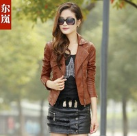 2013 in the jaqueta de couro spring and autumn women's locomotive PU leather large size jacket women cultivate one's morality