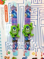 Free Shipping!100pcs/lot! 2013 Popular Monster University Slap Watch Cartoon Kids Digital Wristwatch Silicone Rubber Watch A3026