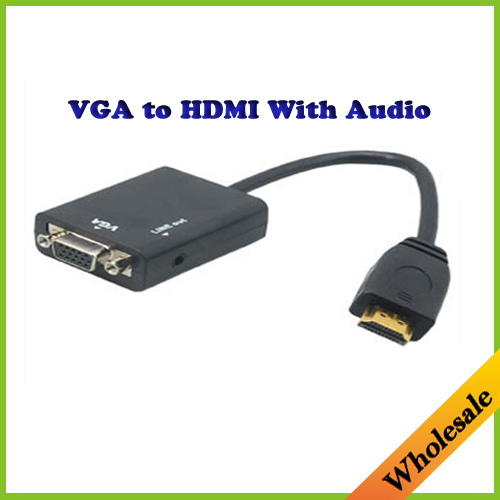 Free shipping HDMI Male to VGA Female extension cable Adapter Converter Cable with Audio Output for PC HDTV Projector 1080P(China (Mainland))