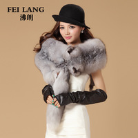 Fox fur muffler scarf women's genuine leather scarf cape fox fur muffler scarf