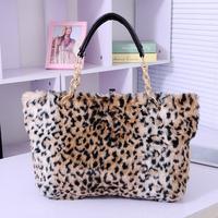 Women's handbag 2013  winter leopard print bag fur shoulder messenger bag brief 2014 Free Shipping