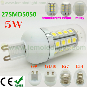 Free Shipping 10pcs/lot 5W 27SMD Led Dimmable G9,85-265V Led Light Bulb G9,G9 GU10 E14 E27 Led Lamp G9 Socket