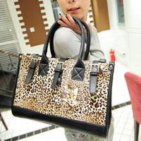 2013 strap decoration briefcase color block vintage leopard print bag handbag shoulder bag cross-body women's handbag