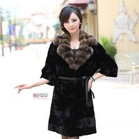 2013 mink fur coat long design women's marten velvet overcoat Women fight mink