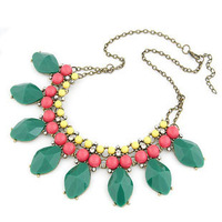 10pcs/lot Wholesale Luxury fluorescent color gems short necklace fashion Chokers Necklaces for women
